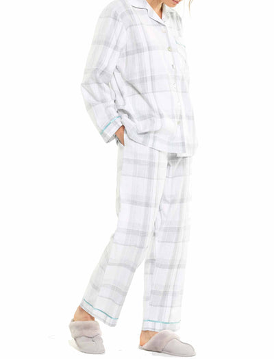 Brushed Cotton Grey Plaid PJ