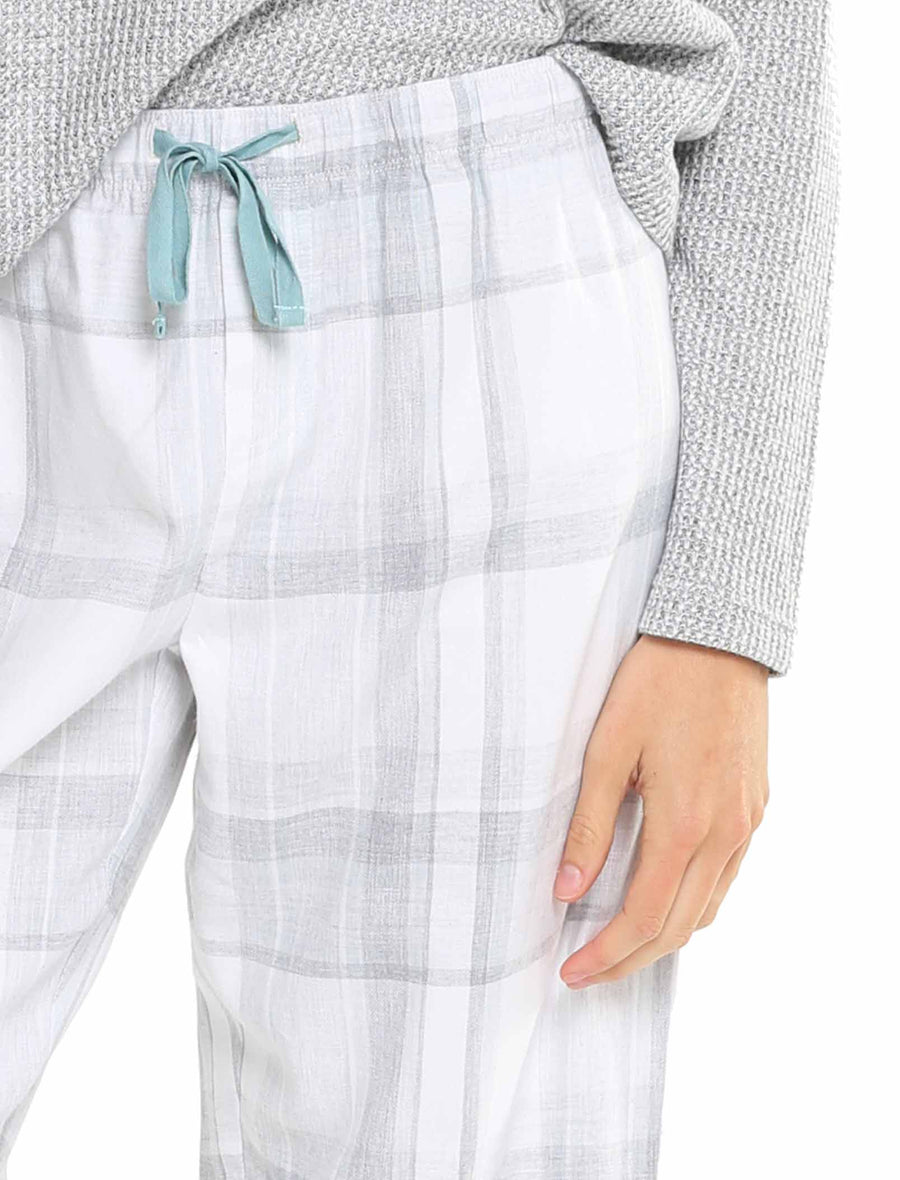 Brushed Cotton Plaid Pant, Blue Green