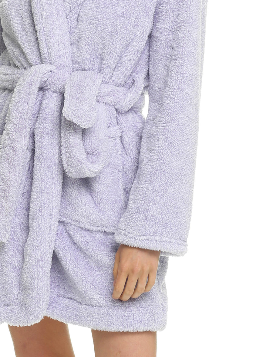 Short Plush Robe, Lilac