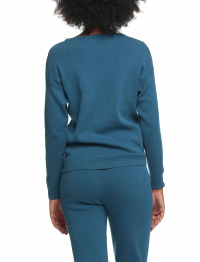 Pointelle Longsleeve Top, Midnight Blue/Deep Ocean