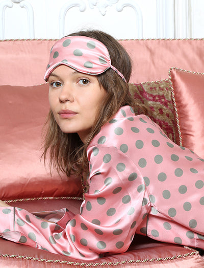 Sarah Spot Sleep Mask, Pink/Sage