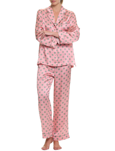 Sarah Spot Piped Silk PJ, Pink/Sage