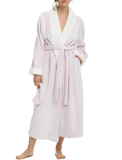 Recycled Sherpa Robe & Eye Mask, Pink