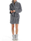 Cozy Short Plush Robe in Navy
