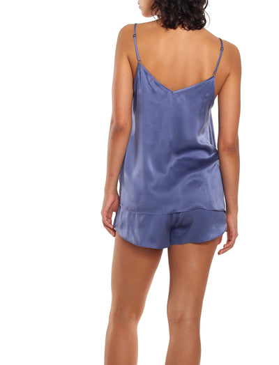 Washable Silk Camisole Boxer Indigo Back