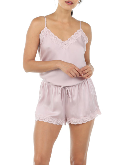 Pure Silk Lace Cami & Boxer Set, Musk