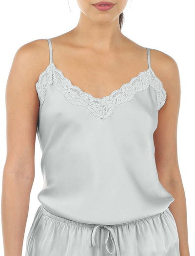 Pure Silk Lace Cami and Boxer Set in Sage
