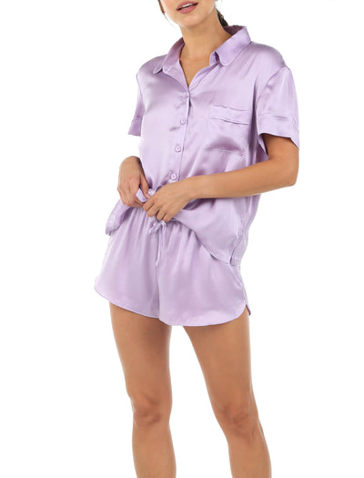Washable Silk Boxer PJ in Lilac