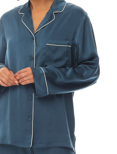 Pure Silk Piped PJ in Midnight Blue