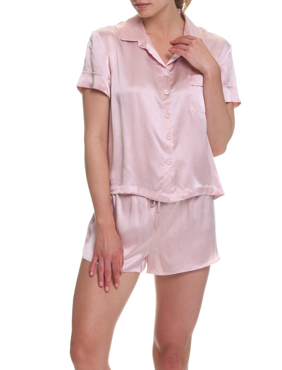 Washable Silk Boxer PJ in Rose