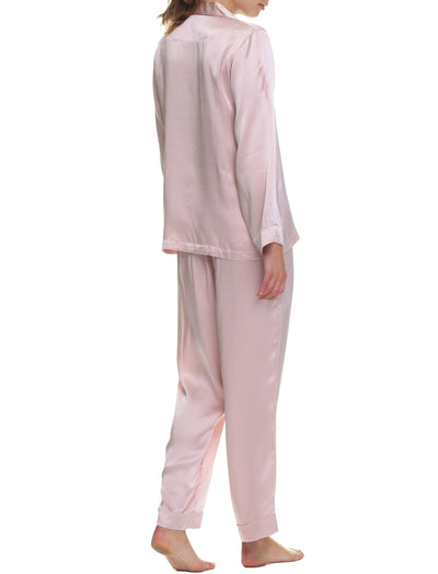 Washable Silk Pyjamas in Rose Back