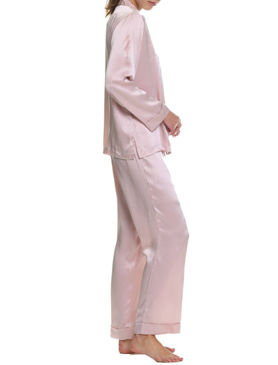 Washable Silk Pyjamas in Rose Side 2