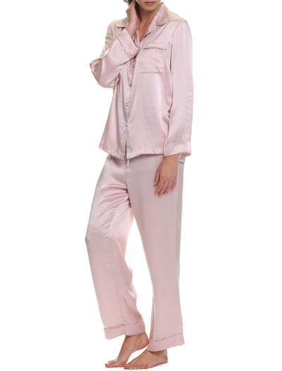 Washable Silk Pyjamas in Rose Side