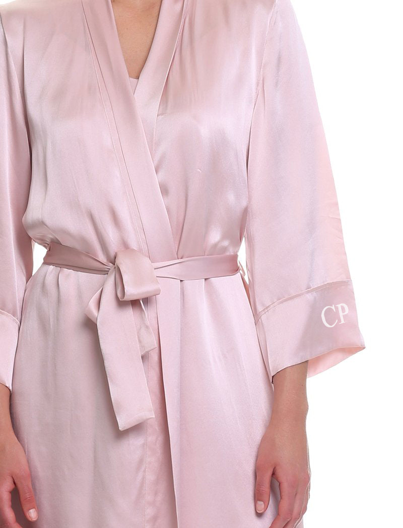 Washable Silk Long Robe in Rose