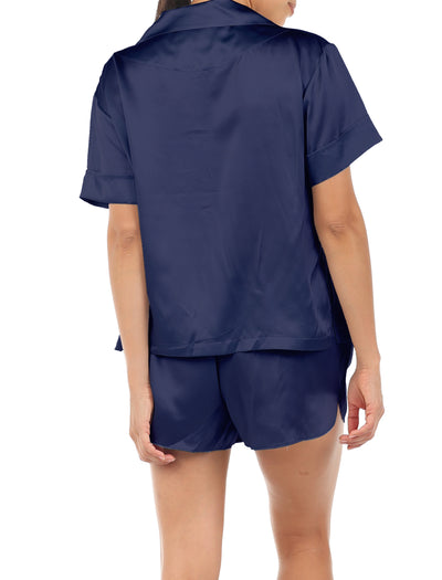 Washable Silk Boxer PJ in Navy