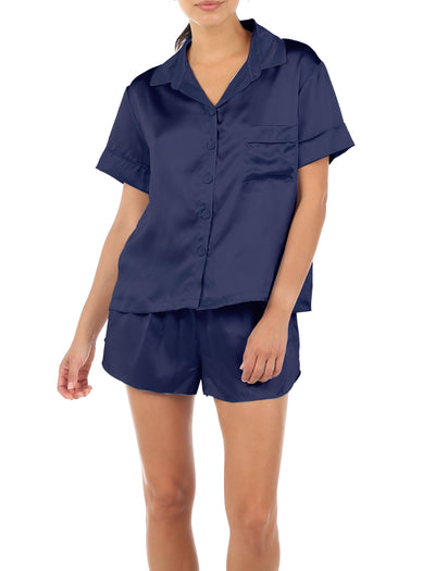 Pure Silk Boxer PJ Set, Navy