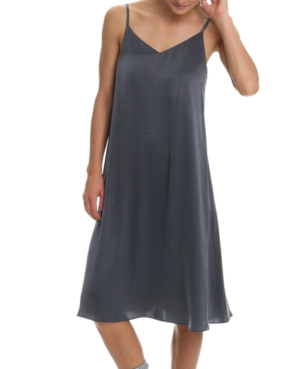 Washable Silk Slip Nightie in Slate