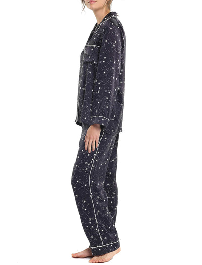 Black Silk Stars Piped PJ