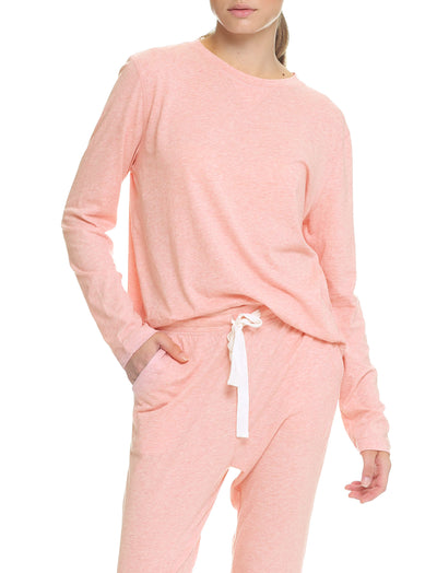 Organic Cotton Knit Long Sleeve Tee in Pink