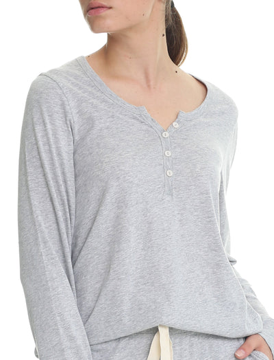 Organic Cotton Knit Henley in Grey