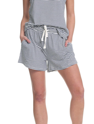 Navy White Stripe Organic Cotton Shorts
