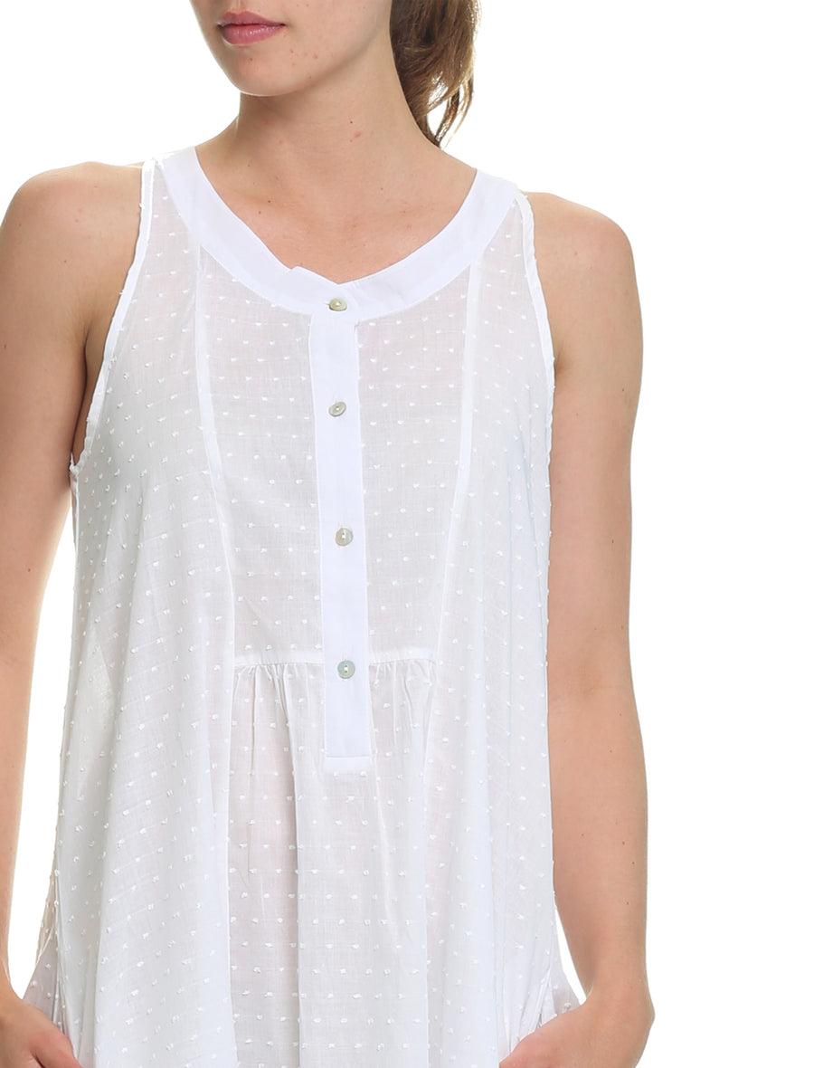 Swiss Dot Panel Maxi Nightie, White