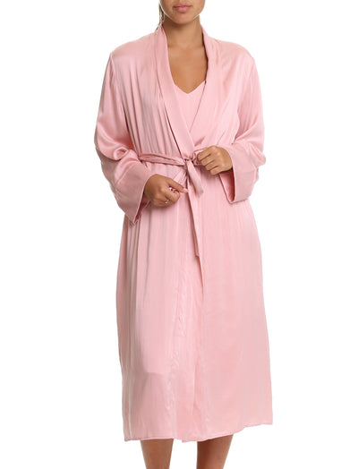 Pure Silk Long Robe in Vintage Pink