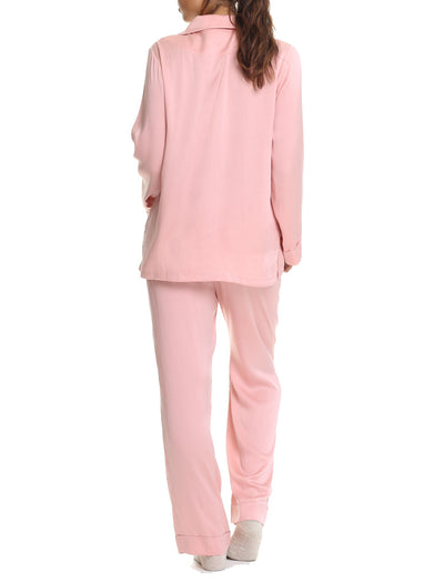 Vintage Pink Silk Pyjamas Back