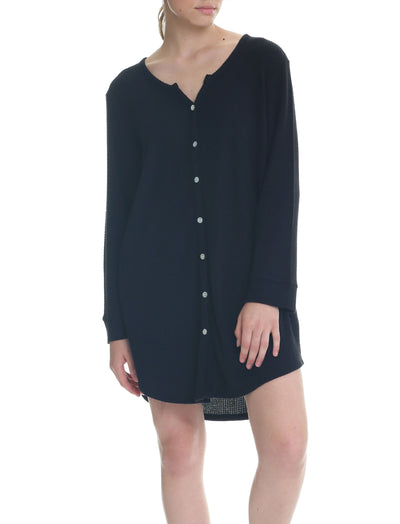 Super Soft Waffle Nightie in Black