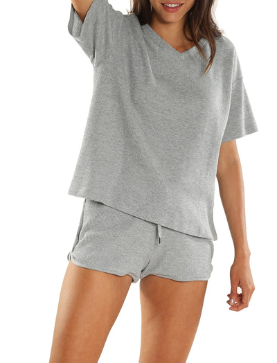 Organic Cotton Summer Waffle Tee in Grey