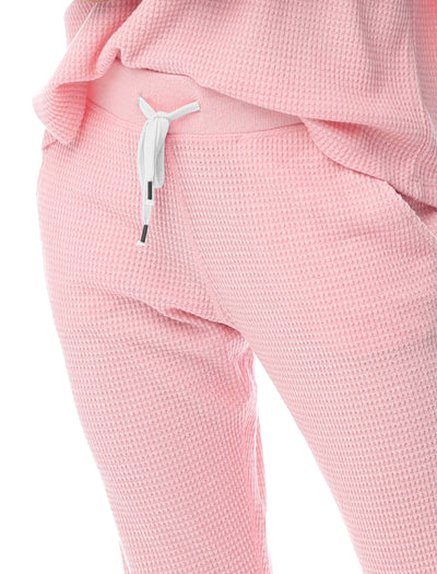 Super Soft Waffle Jogger Pants in Peony Pink