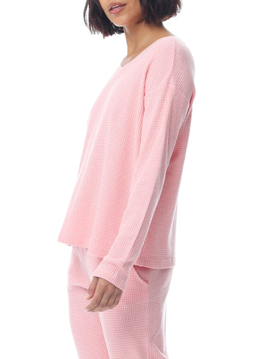Super Soft Waffle V-Neck Long Sleeve Top in Peony Pink