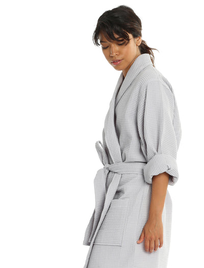 Waffle Cotton Robe in Dove Grey