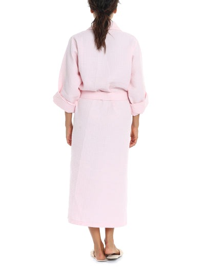 Waffle Cotton Robe in Pink