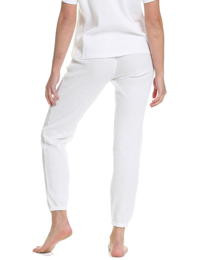 Organic Cotton Summer Waffle Jogger in White