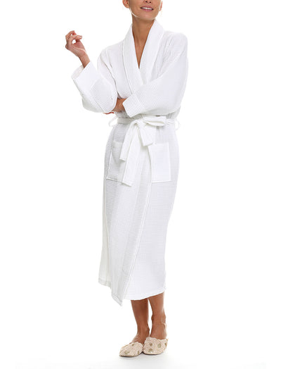 Waffle Cotton Robe in White