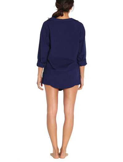 Whale Beach Long Sleeve Shirt in Navy
