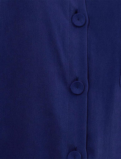 Pure Silk Pyjamas Navy Close