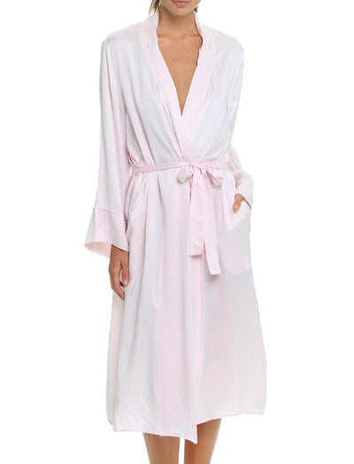 Washable Pure Silk Long Robe, Ice Pink