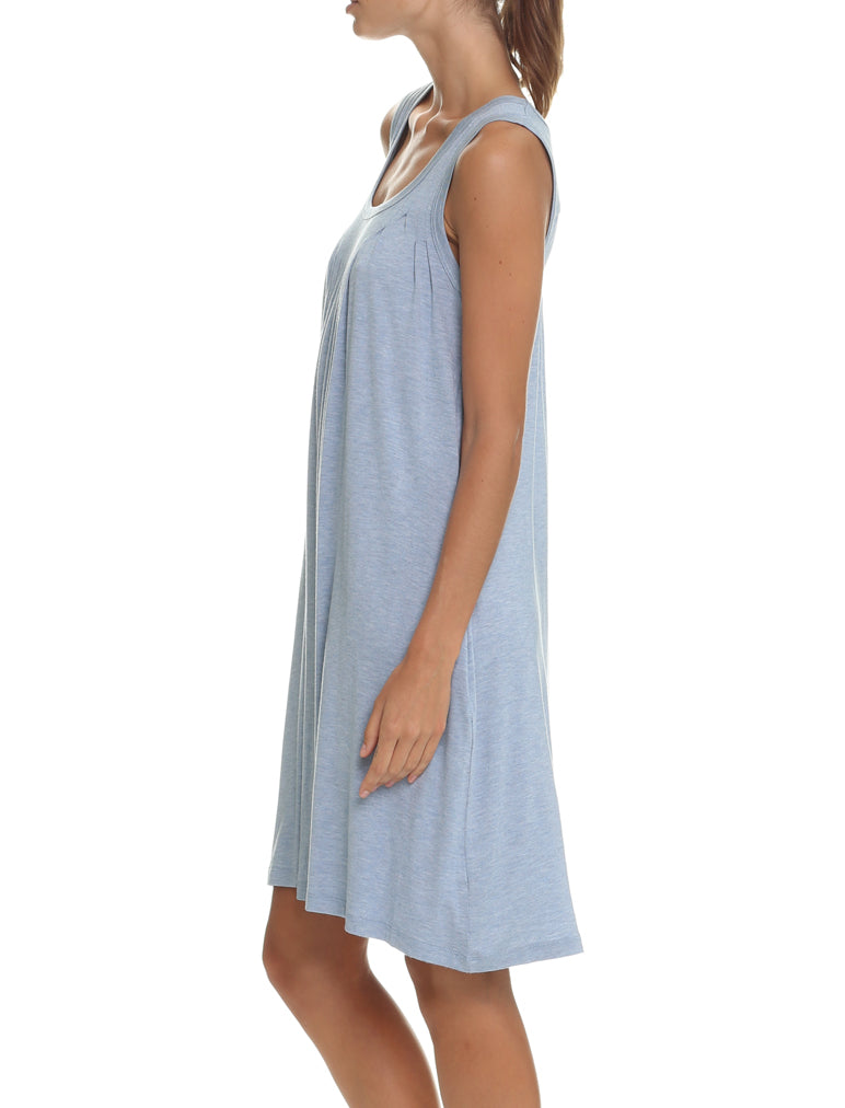Modal Pleat Front Nightie, Blue Grey
