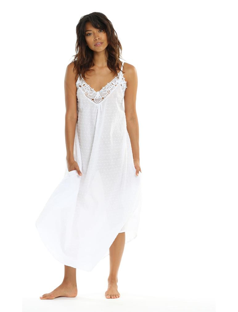 Swiss Dot White Maxi Nightie