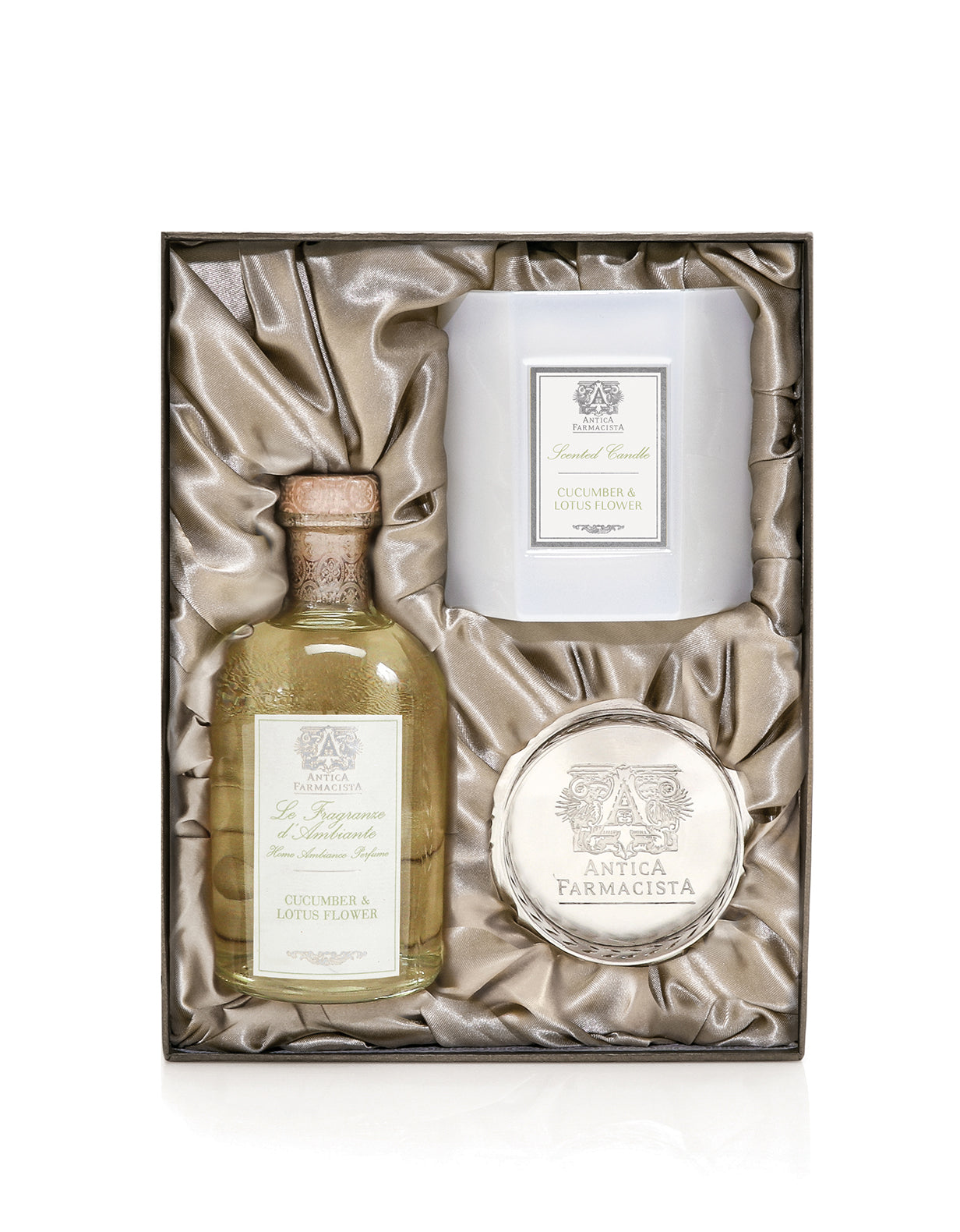 Nickel Home Ambiance Gift Set Cucumber Lotus Flower Antica