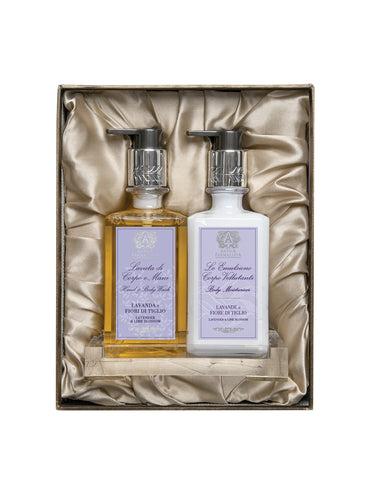 Acrylic Bath & and Body Gift Set: Lavender & and Lime Blossom