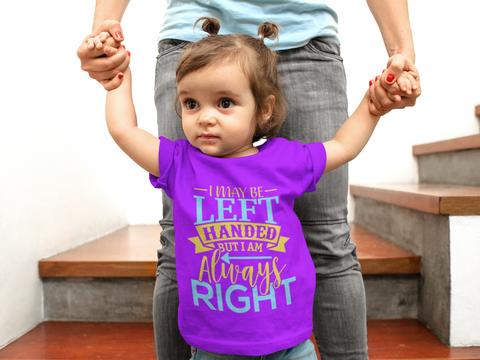 Lefties Only toddler t-shirts with famous Left Handed Quotes