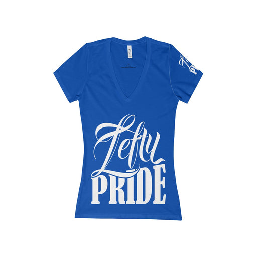 Lefty Pride Women's Jersey Short Sleeve Deep V-Neck Tee | Branded Left Sleeve