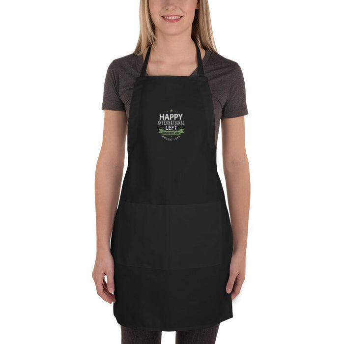 Happy International Left Handers' Day Embroidered Apron | Black