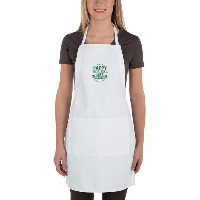 Happy International Left Handers' Day Embroidered Apron | White