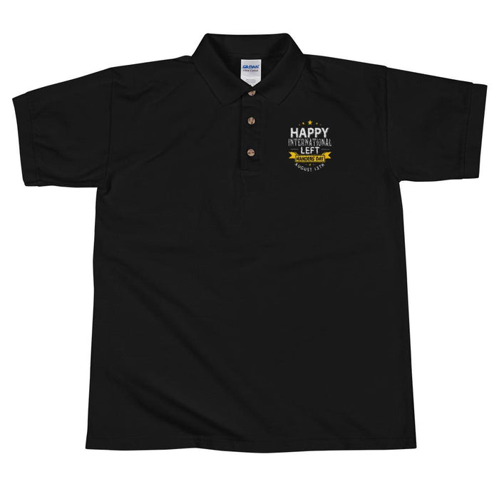 Happy Left Handers Day Men's Polo Shirt | Left Chest Embroidery | Black