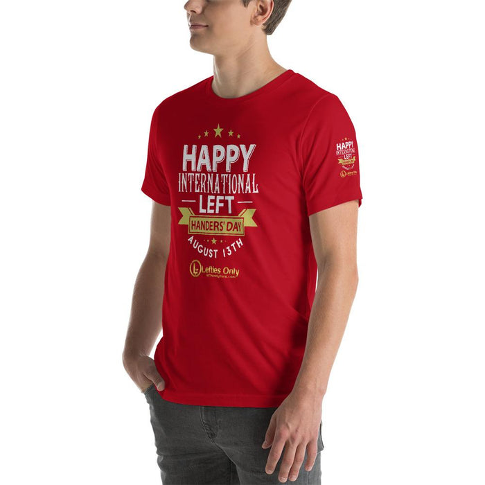 Happy Left Handers Day Short-Sleeve Unisex T-Shirt | Branded Left Sleeve | Front Logo