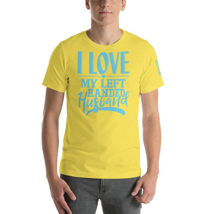 I Love My Left Handed Husband Short-Sleeve Unisex T-Shirt | Branded Left Sleeve
